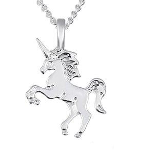 Colares de pingente de animais com cartão de ouro / prata banhado pingentes de unicórnio com 20 polegadas de moda de cadeia gravatas jóias 1084 Q2