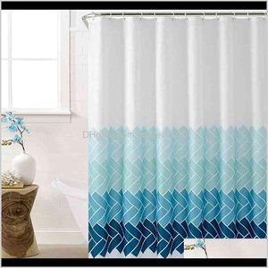 Shower Curtains Polyester Fabric Striped Bathroom With Hooks Simple Soft Waterproof Skidproof Curtain Bath Accessories 210402 Fuss 3Ctki
