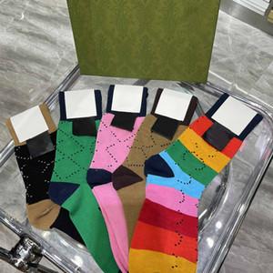 Women Mens Socks Fashion Sport Sock Hosiery Underwear Skateboard Streetwear Stockings Letter Floral Printed with Box 5 Colors