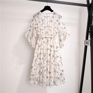 V-neck Women Boho Short Printed Mini Dress Summer Flowers Bow Knot Beachwear Sunflower Clock Ladies Short Mouwen Ruches Loose Vestidos