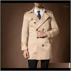 Outerwear & Clothing Apparel Drop Delivery 2021 Mens Large Size Long Windbreaker With Double Breasted,Trench Coat Jacket Trench Coats Solid O