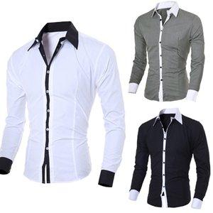 Erkek Gömlek Moda Kişilik Rahat İnce Uzun Mouwen Üst Bluz Bla Beyaz Stil