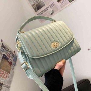 Vintage Square Tote bag 2021 Spring New High-quality PU Leather Women's Designer Handbag Solid color Shoulder Messenger Bag C0407