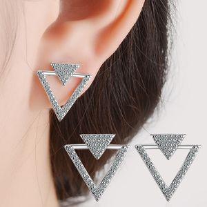 VC-47 S925 Sterling Silver Needles Personality Geometric Triangle Ear Stud Earrings Fashion Light Luxury Zircon Jewelry Wholesale Female