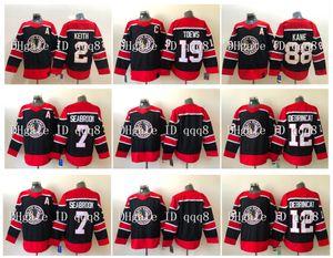 2021 عكس الرجعية شيكاغو Blackhawks 19 Jonathan Twews Jersey 88 Patrick Kane 2 Duncan Keith 7 Brent Seabrook 12 Alex Debrincat Hockey Jersey