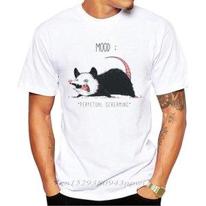Mood Possum Printed Men T-Shirt Short Sleeve Summer Sad Mouse Tshirts Punk Rock Mens Tshirt Tops Funny Tees 210420