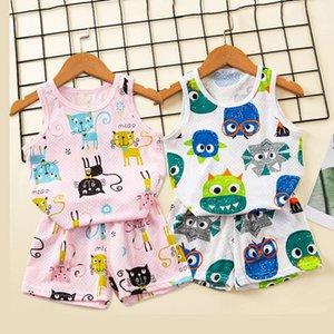 Çocuk yelek erkek yaz giymek Kore versiyonu kolsuz şort nefes örgü pamuk iki parça set kadın hazine ev giysileri