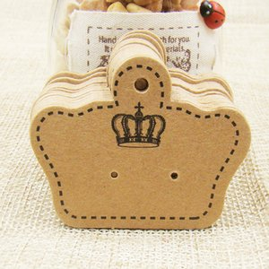 100pcs Stock blank white  Kraft  black Earring Cards Tags 5x4cm Crown Shape Brown Jewelry Ear Studs Packaging Display Cards