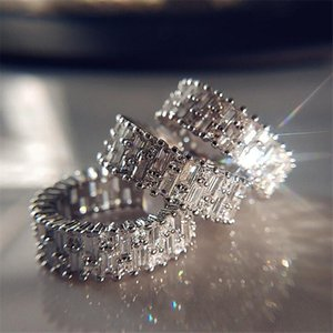 Choucong 2021 Luxury Jewelry Wedding Rings Sparkling T Princess Cut White Topaz Color Ful Eternity CZ Diamond Gemstones Women Female Engagement Bridal Ring Gift