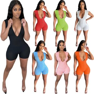 Women plus size Jumpsuits Rompers summer clothes deep-v neck sexy club shorts leggings sleeveless cycling yoga wear running bodysuits jogger fitness fashion 01616