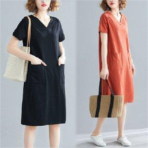 Büyük Boy kadın Yaz Gevşek Kore Orta Uzunlukta T-shirt Etek Yağ MM Katı Renk V Yaka Gösterisi Ince Kısa Kollu Elbise Moda