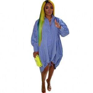 캐주얼 드레스 여성 셔츠 드레스 퍼프 슬리브 Drawstring 레이스 최대 느슨한 여름 패션 스트리트웨어 무릎 길이 Y2K 짧은 Vestidos