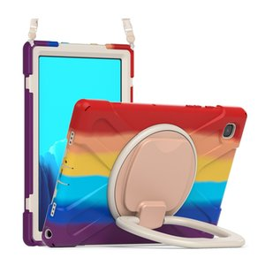 For Samsung Galaxy Tab A7 10.4 Case SM-T500 T505 T507 Full Body Shockproof Rainbow Tablet Cover Stand Shoulder Strap