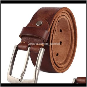 & Aessories Drop Delivery 2021 Luxury- Belt Mens Belts Pronged Buckle Mans Genuine Leather Strap For Jean High Quality Wide Brown Color Fashi