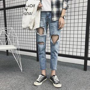 Men's Jeans Skinny Men Streetwear Destroyed Ripped Homme Hip Hop Broken Graffiti Print Pencil Biker Denim Pants Hole