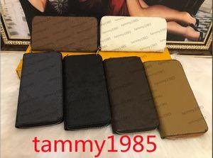 Single zipper Wholesale 6 colors famous Wallets & Holders designer men women leather wallet lady ladies long style purse with orange box 60017