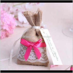 Wrap Vintage Burlap Candy Bag Gift Pouches Jewelry Packaging Bags Favor Boxes Wedding Packing Party Supplies Vveq8 4D5Hq