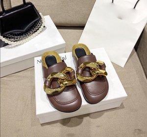 Gold Chain Décor rond muletier plat meubles paresseux chaussures chaussures de femme en plein air véritable chippers