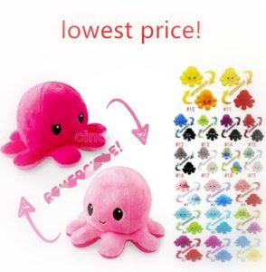US STOCK 26 Styles Reversible Flip Octopus Stuffed Soft Double-sided Expression Plush Toy Baby Kids Gift Doll Wedding Festival Party Supplie