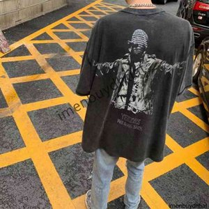 High Street Fashion Kanye the Same Ye Portrait Masked Singer Printed Washed Used Short Sleeve T-shirt Men and Women