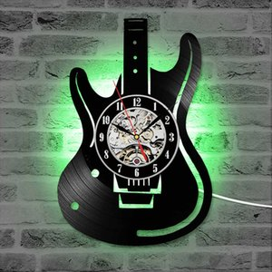 Guitar Vinyl Record Wall Clock Antique Musical Instrument CD LED Clocks Home Decor Creative Silent Hanging Watch for Music Lover