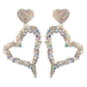Trade Assurance Statement Crystal Rhinestone Earrings Korean Bling Heart Pendant Hoop Earrings for Women Jewelry