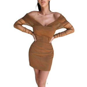 Women Off Shoulder Tube Dress Sexy V Neck Long Mesh Sleeve Cocktail Bodycon Mini Slim Fit Party Streetwear Casual Dresses