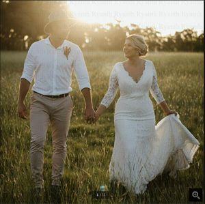 Robe de mariage Vintage white Lace Mermaid wedding dress 3 4 sleeve deep v neckline elegant floor length bridal gowns court train long simple bride dresses on sale