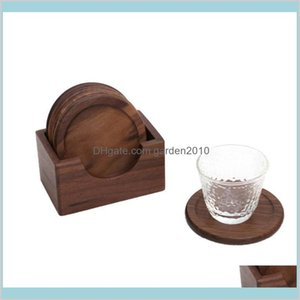 Mats & Pads Table Decoration Accessories Kitchen, Dining Bar Home Garden 6Pcs Wooden Walnut Coasters Set Round Coffee Cup Pad Potholde