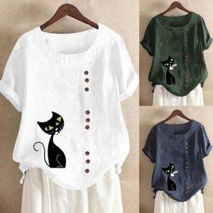 Плюс размер женские бельневые футболки повседневная печать кошка блузка с длинным рукавом свободная кнопка рубашка туника элегантные женские топы лето