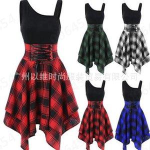 new fashion suspender elastic waist irregular 2019 Plaid Dress for women
