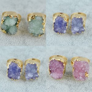 Gemstone Crystal Rings Druzy Quartz Crystal Women Natural Stone Rings Green Rose Raw Stone Female Vintage Wedding Rings 25 N2