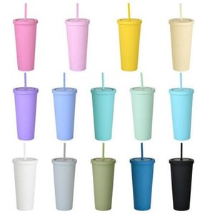 22OZ SKINNY TUMBLERS Matte Colored Acrylic Tumblers with Lids and Straws Double Wall Plastic Resuable Cup Tumblers