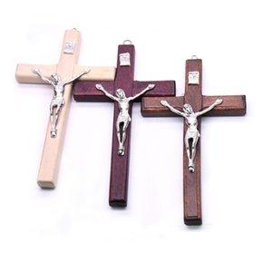 Puro handmade de madeira crucifixo cristão ícone ícone ícone de oração religiosa mão segurando pingente transversal