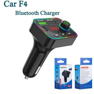 Bluetooth Car Kits Phone Charger Handsfree Talk Wireless 5.0 FM Transmitter USB Adapter With Colorful Ambient Light LED Display MP3 Audio Music Player