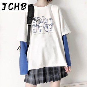 Tshirt Women Autumn Ins Korean College Wind Soft Sister Cartoon Print Fake Two-piece Long-sleeved T-shirt Female Stu Women's
