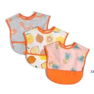 Bebê impermeável almoço bibs desenhos animados frutas imprimir bebês meninas meninas alimentando panos de arroto aventais hwb8481