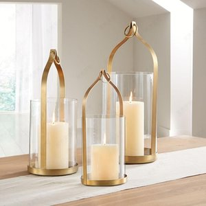 Candle Holders Europe Golden Iron Glass Candlestick Handmade Art Lantern Wind Lamp Romantic Candlelight Dinner Props Home Decor