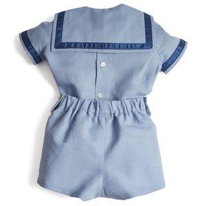 Bebek Butik Giyim Seti Erkek Yaz Giyim Takım Elbise İspanyol Bebek Donanma Pamuk Gömlek Pantolon Toddler Çocuk Doğum Günü Partisi Kıyafet 210226 540 Y2