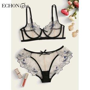 Echonight Erótico Lace Underwear Mulheres Open Night Sexy Bra Set Transparent Lingerie Mulheres