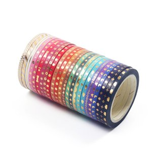 24pcs Mini gold color washi tape set 3mm decoration star bowknot love slim masking tapes stickers scrapbooking frame gift A6815 2016