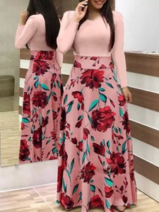 and blocking color 2019 European print popular American flower long sleeve dress long short skirt women's dress