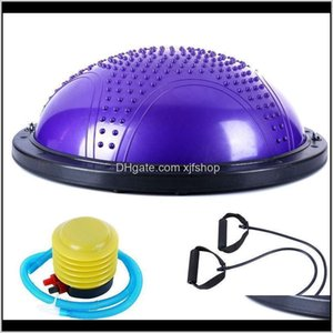 Yoga Ball Exercise Hemisphere Explosion-Proof With Tension Band And Inflator Balls Oujkr Dlzqu