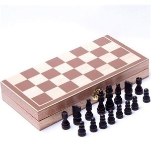 Folding Wooden International Chess Set Pieces Board Game Funny Chessmen Collection Portable