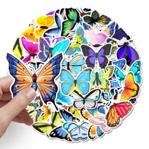 58 cartoon color butterfly graffiti stickers Skin Protectors luggage scooter car computer waterproof decorative sticker Accessories