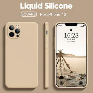 Original quadrado casos de telefone de silicone líquido para iphone 12 11 pro max mini xs x xr 7 8 6 6s plus se 2 fina capa macia case doces 16 cores