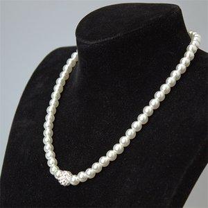 Hohe Qualität Creme Glas Perle Und Disco Strass Ball Frauen Braut Halskette Armband und Ohrringe Hochzeit Schmuck Sets 502 Q2