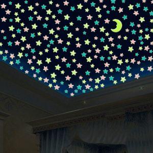 Fluorescent Bedroom Kids in the Dark Wall Stickers Stars Luminous Glow Romantic Starry Sky Ni98