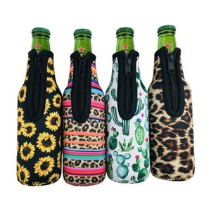 50%off 330ml 12oz Kitchen Universal Neoprene Beer Bottle Coolers Cover with Zipper, Bottles koozies, Softball, Sunflower Pattern item