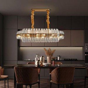 Chandeliers Postmodern Golden Art Deco Stainless Steel Crystal Chandelier Lighting Lustre Suspension Luminaire Lampen For Dinning Room DHL